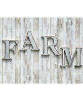 Galvanized Metal 4 Pc FARM Industrial LETTER Sign WALL DECOR Outdoor Indoor