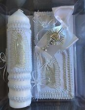 First Communion Virgin Guadalupe Candle Box Set For Girls or Boys English Missal