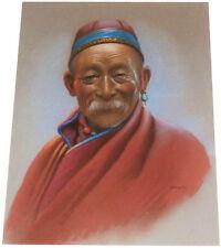 1955 Rare DOUGLAS GORAY Art - Tibetan Wise Man - ORIGINAL PASTEL PAINTING Signed