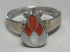 Ring With Coral & Mother-Of-Pearl Zuni R- 200 Sterling Silver