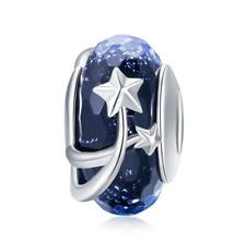 BLUE Star Flower European Murano Glass Charms 100% 925 Sterling Silver Pandora