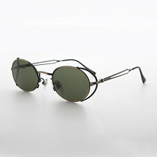 Steampunk Vintage Sunglass with Side Shields Bronze/Green Lens -Silas