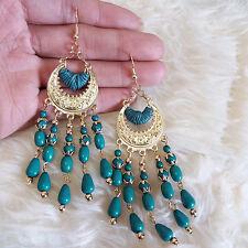 Vintage Bohemian Womens Green Beads Fringed Dangle Drop Hook 10 cm Long Earrings