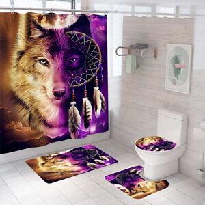 Wolf Bathroom Rug Set Shower Curtain Thick Non Slip Toilet Lid Cover Bath Mat
