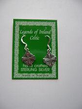 Sterling Silver Celtic Irish Iron Cross Hook Earrings New