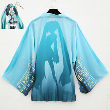 Anime Vocaloid Hatsune Miku Cosplay Costume Chiffon Cloak Cape Bathrobe Kimono