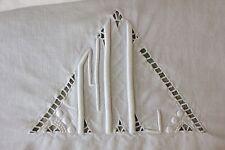 Sheet LINEN FRENCH FINE  monogram  88X123 linen  white  1940's