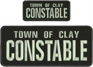 TOWN OF CLAY CONSTABLE EMB PATCH 4X10&2X5 HOOK ON BACK BLK/silver