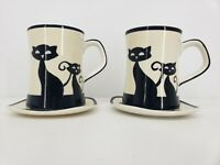 Hues N Brews Cat 2 Cup  2 Saucer Black Siamese Cats Paws Tea Coffee HuesNBrews