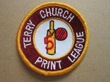 Terry Church Print League Cricket Sport Woven Cloth Patch Badge
