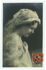 c 1909 Vintage Glamor Glamour PRETTY LADY Beauty Pin-Up tinted photo postcard