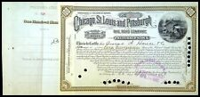 Chicago, St-Louis and Pittsburgh Rail Road Company, 100 Shares 1883 N°328