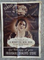 Vintage 1915 Flyer FRIGIDAIRE REFRIGERATOR MEAL PLANNING GUIDE ADVERTISING RARE