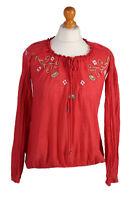 Vintage IHD Hilfiger Blouses Long Sleeve Denim Floral Print Chest S Red - LB145