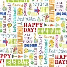 Let's Celebrate Fabric - Birthday Party Word Patch on White - Henry Glass YARD