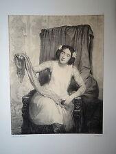 A. DE LEMUD (1817-1887) LITHO ORIGINALE PORTRAIT FEMME ÉCHARPE COUTURE MODE 1860