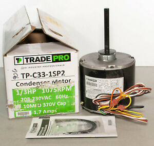 TradePro TP-C33-1SP2 Universal HVAC Condenser Motor 1/3 HP 1075 RPM 230V 1.7A