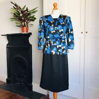 Vintage 80s Black Blue Metallic Gold Floral Print Peplum Power Pencil Dress 16