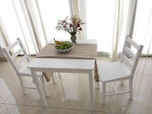 Small White Wooden Dining Table And 2 Chairs Set Kitchen Diner Breakfast Room