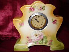 Antique Art Deco 1920s 30s porcelain china Mantle clock working order A/F