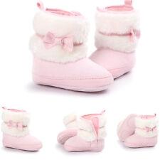 Newborn Kids Baby Girls Winter Snow Shoes Soft Sole Prewalker Crib Plush BOOTS Pink L