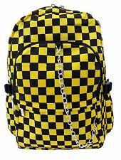BLACK & YELLOW CHECK Backpack Rucksack School College Goth Rock Punk Checker Bag
