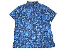 Polo Ralph Lauren Navy Blue Royal Blue Beach Paisley Resort Shirt XXL 2XL