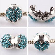 1pcs silver love ball sky blue CZ snap beads fit Charm European Bracelet #C953