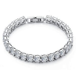 Tennis Bracelet Grand Pierre 18K Finition or Balnc Grade A Synthétique Diamants