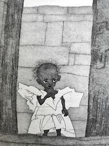 "Jastram, Inge (1934 Naumburg, lebt in Kneese/Marlow) ""Engel in der Tür""  Radier."