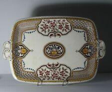 Late 19thC Edward F Bodley & Son Soudan Brown Transfer Porcelain Handled Platter