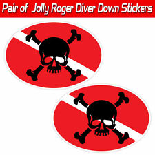 Jolly Roger scuba decal diver down skull & Crossbones graphic toolbox sticker