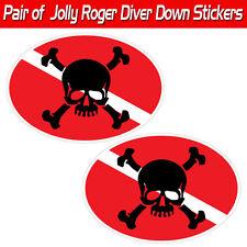Jolly Roger scuba decal diver down skull & Crossbones graphic toolbox sticker