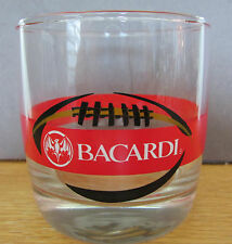 "Bacardi Rum Glass Tumbler Round  Classy Drink 3"" Football Bat Logo"
