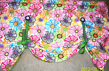 """Floral Tie-up Window Valance/Curtain~Textured/lined~Multicolor~New~28x42""""~lace"""