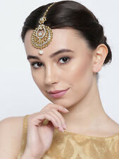 Bollywood Jewelry Ethnic Gold Tone Crystal Pearl Drop Head Chain Tikka Women