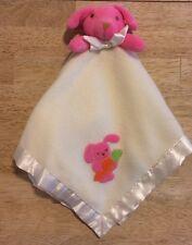 Blankets And & Beyond Lovey Pink Dog Bunny Carrot Cream Plush Blanket Satin Edge