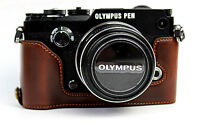 PU Leather Half Camera Bottom Case Bag Grip For Olympus Pen-F Pen F 3 colors