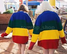 Women Rainbow Color Knitting Sweater Long Sleeves Round Neck Winter Vintage HY8A