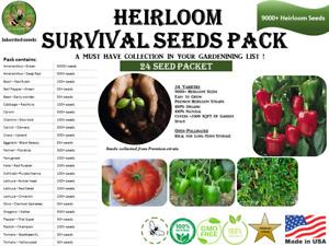 Heirloom Survival Kit 9000+ seeds, 24 varieties pack, 100% organic, Grown in USA