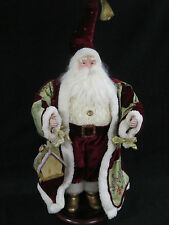 Santa Clause Porcelain 28 in High Velour Bling Gold Accents Wood Base Birdhouse