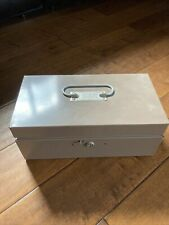 Vintage Metal Lit Ning Products Co Money Box Coin Compartment Tray With Key Beige