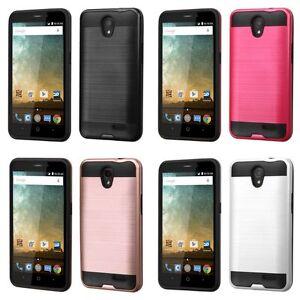 For ZTE MAVEN 2 GoPhone Hybrid Brushed Metal Pattern Slim Hard Case Phone Cover