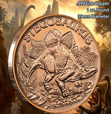 """Stegosaurus"" Dinosaur Round 1 oz .999 Copper Round part of Dinosaur series"