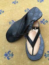 Gucci Homme Sandales Tongs Noir Chaussures Cuir UK 9 US 10 EU 43 en relief
