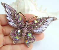 Gorgeous Insect Butterfly Brooch Pin Purple Rhinestone Crystal Pendant 04538C9