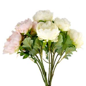 GIANT Peony spray SO REAL 83cm long stem 2 flowers 1 bud artificial silk bush