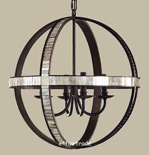 NEW Pottery Barn Dumont Mirrored Round Pendant Chandelier, NEW IN BOX