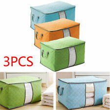 3PCS Foldable Underbed Clothes Storage Bags Ziped Organizer Boxes Wardrobe Cube