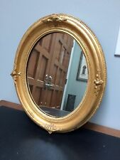 "Vtg 15.5"" by 18.5"" Gold Gilt & Gesso Oval Wooden Mirror"
